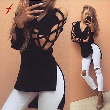 2019 Spring Fashion Women Shirts Sexy Bandage Hollow Out Long Sleeve Shirt V Neck High Low Split Tops Club Party Blouse Blusas