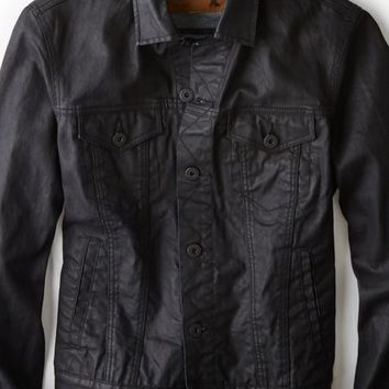 AEO 's Black Coated Denim Jacket (Black)