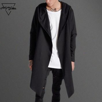 Aelfric Eden New Autumn Winter  Open Stitch Hoodies Trench Irregular Hem Men Sew Line of Back Long Hooded Windbreaker Coat My015