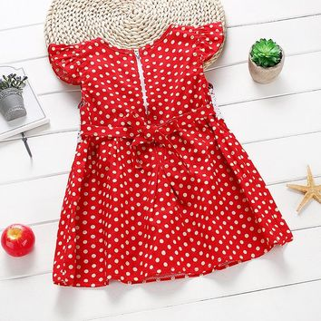 Fashion 1-3Y Kids Polka Dots Mini Dress Lovely Girls Summer Dress Toddler  Sleeveless Lace Dress