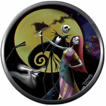 Jack With Sally Moon Spiral Hill Halloween Town Nightmare Before Christmas Jack Skellington 18MM - 20MM Charm for Snap Jewelry New Item