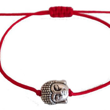 Kabbalah antique silver plated buddha head bracelet red macrame string women jewelry