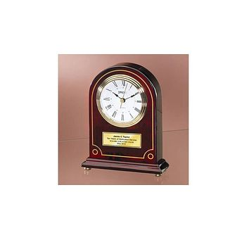 Personalize Cherry Wood Desk Clock Articular Gold Border Arch with Gold Foot Employee Recognition Service Award Retirement Anniversary Gift