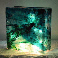"Glass Box Lantern with String Lights in Blue-Green - ""Merch Light"""