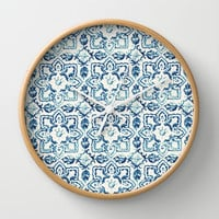 tile pattern IV - Azulejos, Portuguese tiles Wall Clock by Ingrid Beddoes