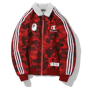 BAPE AAPE Champion Winter Trending Women Men Stylish Red Camouflage Lambs Wool Cotton Cardigan Jacket Coat
