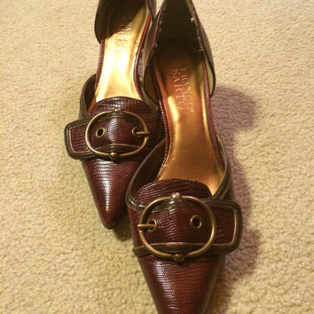 Franco Sarto Brown Leather Kitten Heeled Buckled Heels Sz. 7 (Small/Indie Brands)