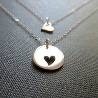 Mother and Daughter Sterling Silver Heart Necklace Set