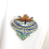 Broken China Jewelry, Deruta Vintage Pottery Unique Pin, Brooch, Pendant, Italian Pottery, Hand Painted, One of a Kind Birthday Gift for Her