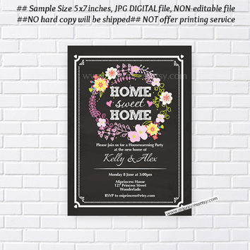 housewarming invitation, party invites, New house home sweet home Invitation Card wreath design Invitation Card Design chalkboard - card 202