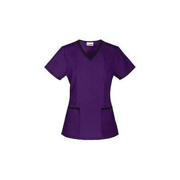 ScrubStar Women's Fashion V-Neck Scrub Top, Small, Eggplant, SS45A876