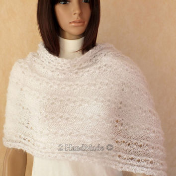 Infinity Lace Circle Scarf Knit Loop Snood Moebius Shawlet Shrug Cowl Nec Warmer Snow White Mohair