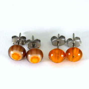 Halloween Stud Earrings, Black and Orange Murrine Fused Glass, Surgical Steel