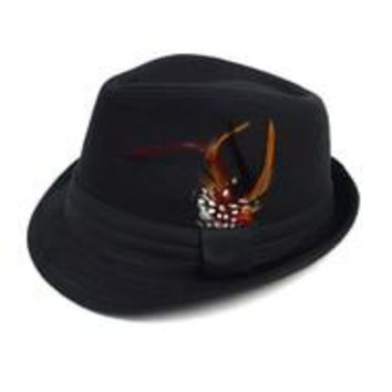 Fedora Hat with Feather Accent and Band Trim