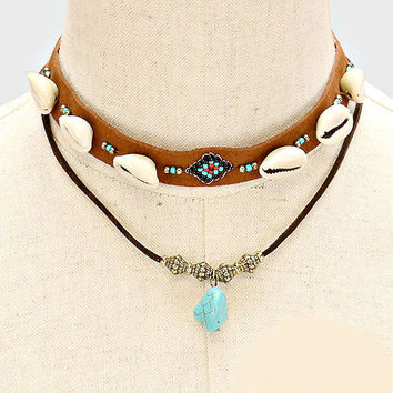 Brown Leather & Silver Double Layer Howlite Stone Shell Choker Necklace