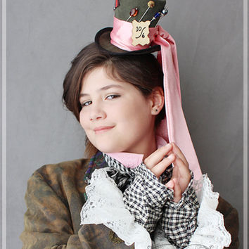 Mad Hatter Hat , Tea Party Hat , Mini Top Hat Fascinator , Mini Hat Headband