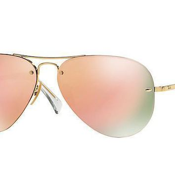 Ray Ban Aviator Sunglass Gold Rose Gold Mirrored RB 3449 001/2Y