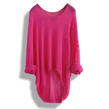 Red Batwing Sleeve Casual Loose Asymmetric Sweater Womens Sweaters = 1920529604