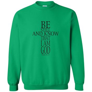 Be Still Cross Christian Crewneck Unisex Sweatshirt