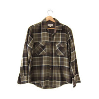 Vintage Plaid Flannel / Grunge Shirt / Boyfriend button up shirt / Lumberjack flannel / Backpacker Outdoors