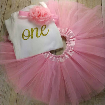 First Birthday Outfit Girl, - Golden Birthday, - One Birthday -  Onesuit, - Tutu, Headband - Pink and Gold Birthday,