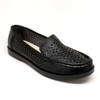 Women's Black Color Faux Leather Loafer with Lasercut Design