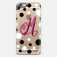Pink Polka Dots Custom Slim Phone Case with Initial