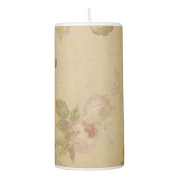 Rose Art Print Pillar Candle