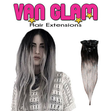 "Black to Silver Custom Ombre Clip In Hair Extensions 22"" High Quality Cuticle Remy Human Hair"