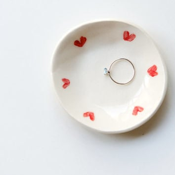 Ring Plate with Red Hearts - Handmade Ceramics by RossLab (made to order)
