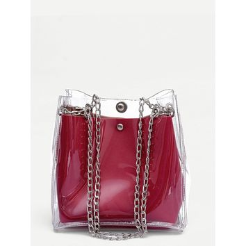 Clear Chain Tote Bag With Inner Pouch Red