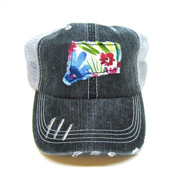 Black and Gray Distressed Trucker Hat - Wildflower Floral Applique - Connecticut - All United States Available