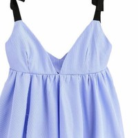 Bow Tie Camisole Blue Pinstripe Ladies V Neck Ruched Tops Women Cute Draped