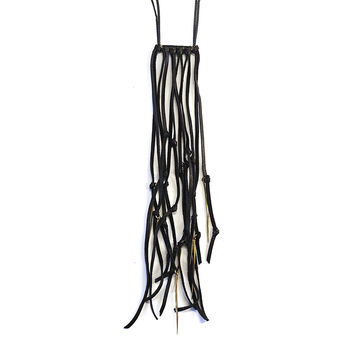 K/LLER COLLECTION - TWIST SPIKE LEATHER FRINGE NECKLACE BRASS