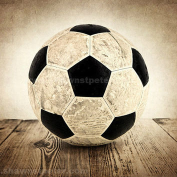 Vintage Soccer Ball on Wood  8x10 Print Boys Room by shawnstpeter
