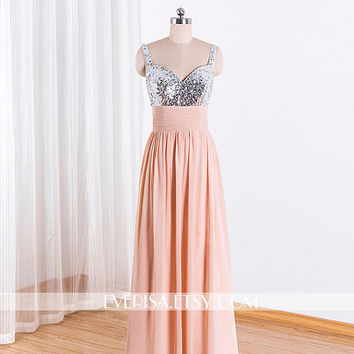 Sequin Bridesmaid Prom Dress,Champagne Mint Bridesmaid Dress,Long Prom Dress,Champagne Sequin Evening Prom Dresses 2015,Bridesmaid DressProm