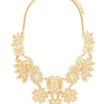 Etched Flower Statement Necklace