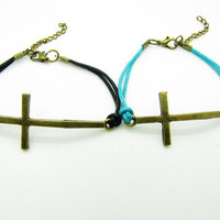 bronze crossing and black Ropes Women Cuff by braceletcool