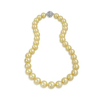 Champagne Strand Necklace Rhodium Plated Crystal Clasp Pearl 18 inch