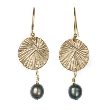 Miravos Jewelry - Small Medallion Earrings with Pearl