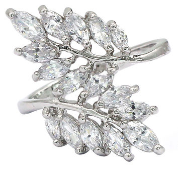 noble fringe crystal lady silver ring