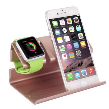 VONL8T Apple Watch Stand,iPhone 6 Stand,BENTOBEN Charging Stand Dock Station Cradle Nightstand for Apple Watch and iPhone with Cable Winder Detachable Construction Anti Slip Foam Cushion Rose Gold