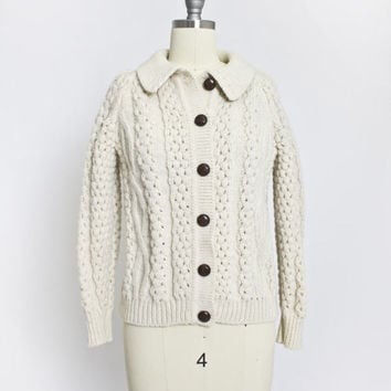 Vintage IRISH Wool Fisherman Cardigan - Knit Ivory Cropped Ladies Cropped Sweater 1960s - Small S