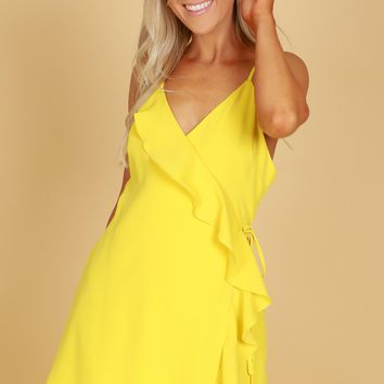 Ruffle Wrap Dress Yellow