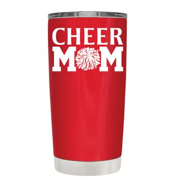 Cheer Mom Pom Pom on Red 20 oz Tumbler Cup