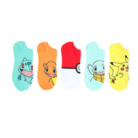 Pokemon Big Face No-Show Socks 5 Pair