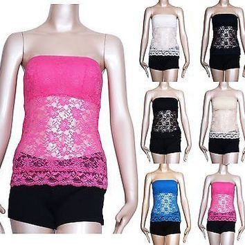 2b14f4279436e Women Floral Lace Crochet Strapless BANDEAU TUBE TOP PAD Stretch CAMI Tank  TEE