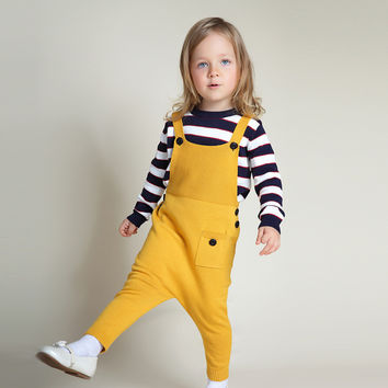 60 2016 New Spring Autumn baby boy jeans overalls 12M-5T Girls Boys Overall Jumpsuit Fashion Baby Bib Pants child denim overalls