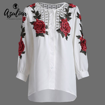 AZULINA Casual White Blouses Shirts for Women O Neck Hollow Out Flowers Long Sleeve Button Embroidered Long Blouse Floral Tops