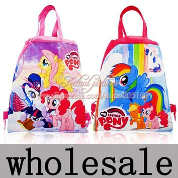 12Pcs My Little Ponies Children Cartoon Drawstring Backpacks School Bags Party Supplies Gift 34*27cm Free Shipping